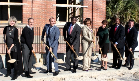 Photo by Te'Andrea Hood City and county comissioners were joined by other offcials during the ground breaking of the Edison.