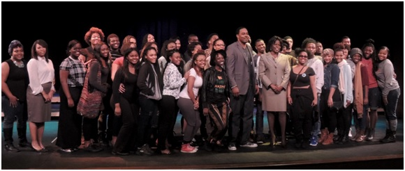 Theater students, actor Lamman Rucker and FAMU President Elmira Mangum ended the first lecture series by posing for the cameras.