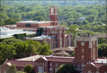 Several of University of Oklahoma's buildings are shown here taken from Sarkeys Energy Center.