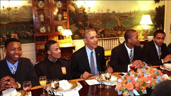 Pool/Getty Images President Barack Obama has lunch with young participants in the My Brother's Keeper initiative at the White House Feb. 27, 2015, in Washington, D.C. Chris Kleponis