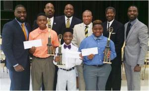 Brothers of the Alpha Leadership Program posed with the  winning participants of the oratorical contest.