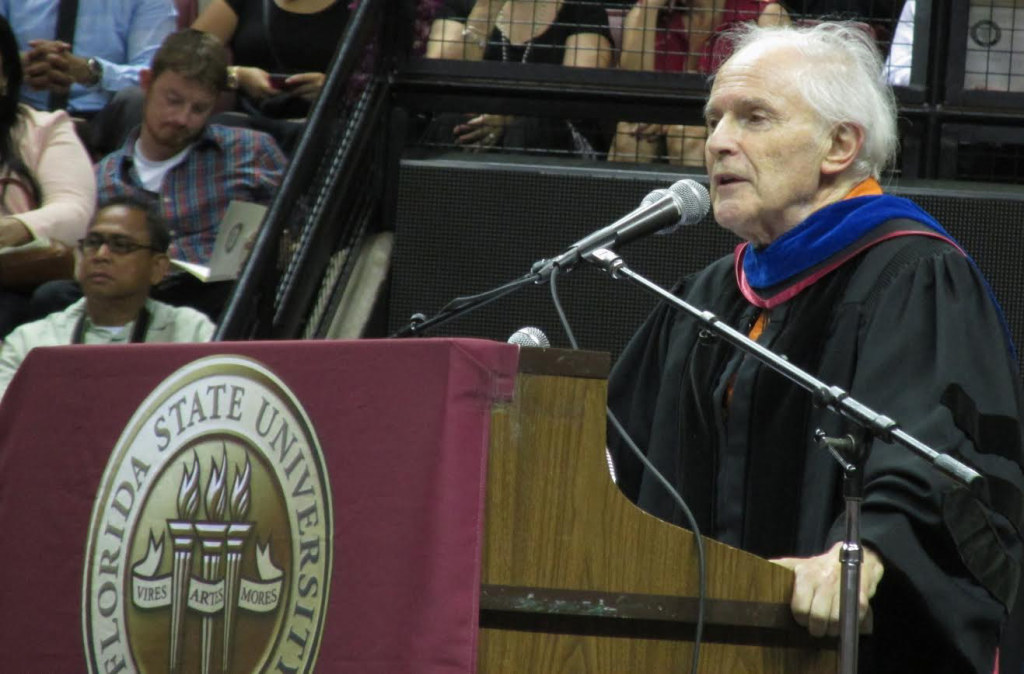 Photos by Jayla Wilson    Sir. Harold Kroto gave his speech during FSU's May  1 commencement ceremony.