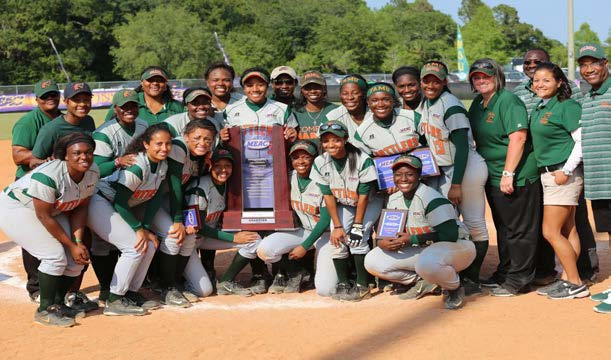 FAMU Softball team posed together after winning the confrence title. Photo courtesy of FAMU Athletic