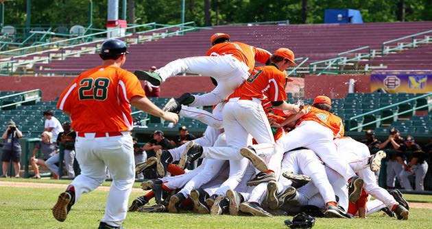 FAMU baseball piled up after winning MEAC Confrence title. Photo courtesy of FAMU Athletic