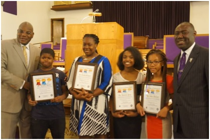 Photo special to the Outlook Young entrepreneurs were recently recognized at the Bethel Missionary Baptist Church. From left to right: Rev. Dr. R. B. Holmes, Jr., Anthony Holley, Arenesha Simmons, Joycelyn Price, India McCary and attorney Benjamin Crump.