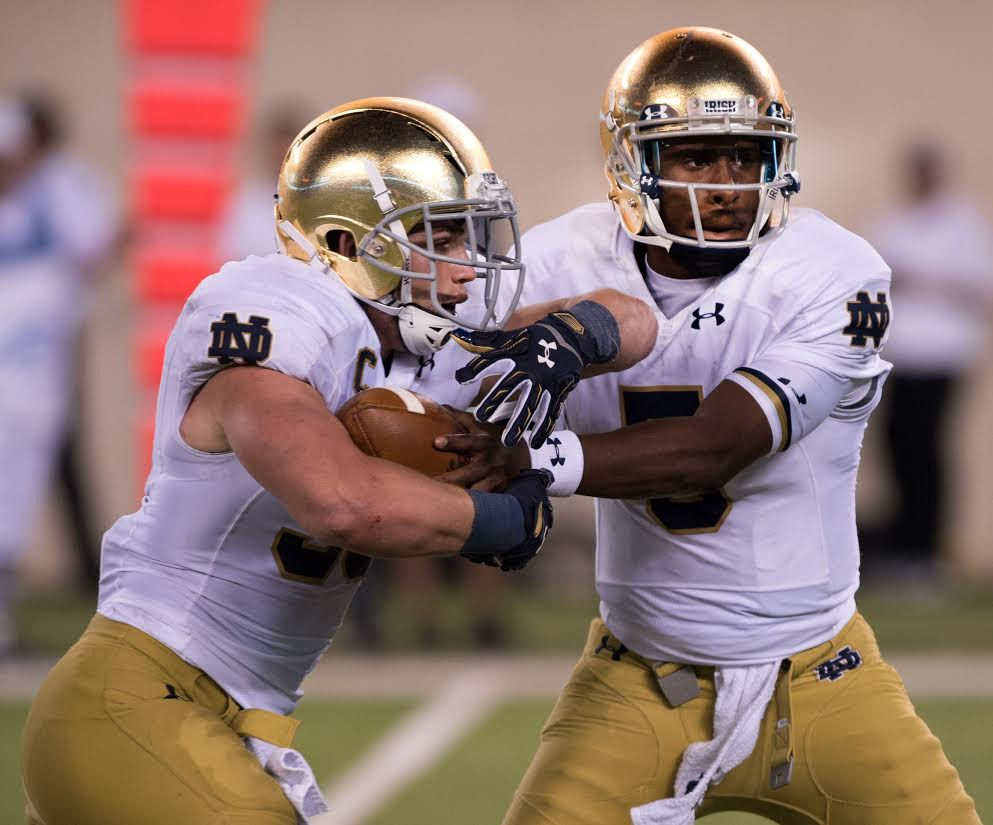 Notre Dame Quarterback Everett Golson (right) annouced last week that he will be transfering to Florida State for the upcoming football season. Photo courtesy of Notre Dame Althletics