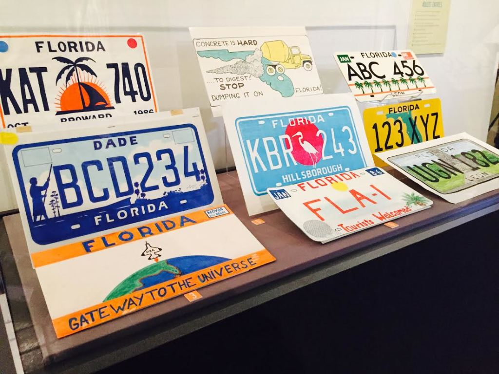 Nine thousand submissions to the Florida License plate redesign sit on dispaly in the exhibit at the Florida Capitol Historic Museum. Photos by LaDarius Calhoun