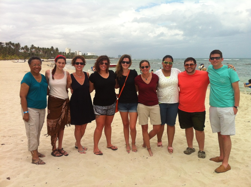 Mildred, Shelly, Marty, Katelon, Laurin, Meredith, Chantal, Nathan & Tyler, relaxing at the beach Photo special to the Outlook