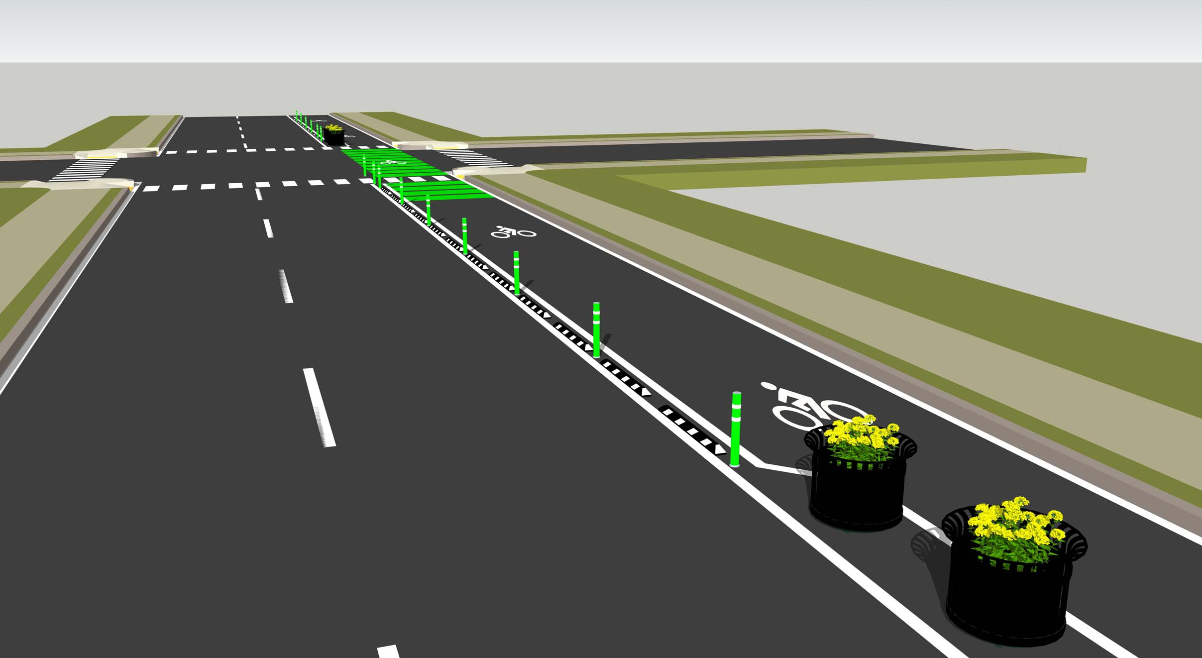A portion of  an artist's rendition shows the proposed Tallahasseee bike-network. Photo courtesy of  the Leon County Planning Department