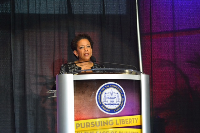 U.S. Attorney General Loretta Lynch speaks at the Freedom Fund/Thalheimer Awards ceremony, during the NAACP's 106th Annual Convention in Philadelphia on Wednesday evening.  Photo by Abdul Sulayman/Philadelphia Tribune Chief Photographer