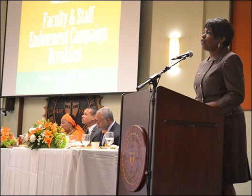FAMU President addressing the audience during the campaign breakfast.