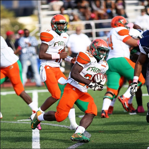 FAMU running back Gerald Hearns made his way through a crowd of defenders on his way to gaining some extra yards.