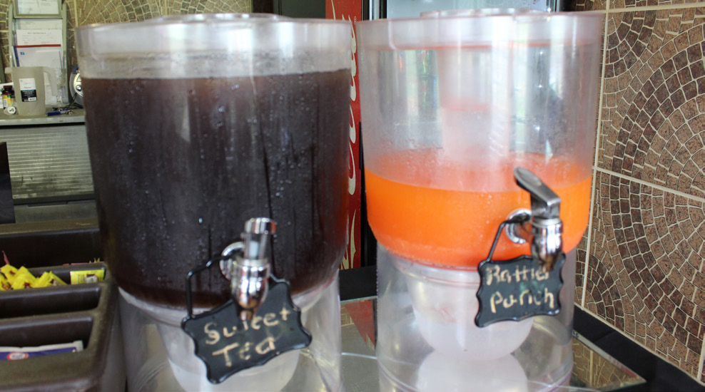 Sweet Tea and Rattler Punch are the restuarants most popular beverage.