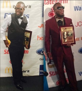 Goodson  walked the red carpet  in 2015(L) and in 2014 (right).