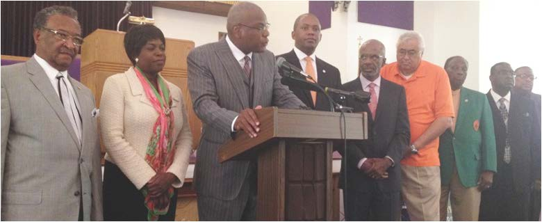 "Rev. R.B. Holmes addressed the media, saying that the gathering of former FAMU presidents showed their ""commitment to building a better, great and stronger FAMU."" Photo by St. Clair Murraine"