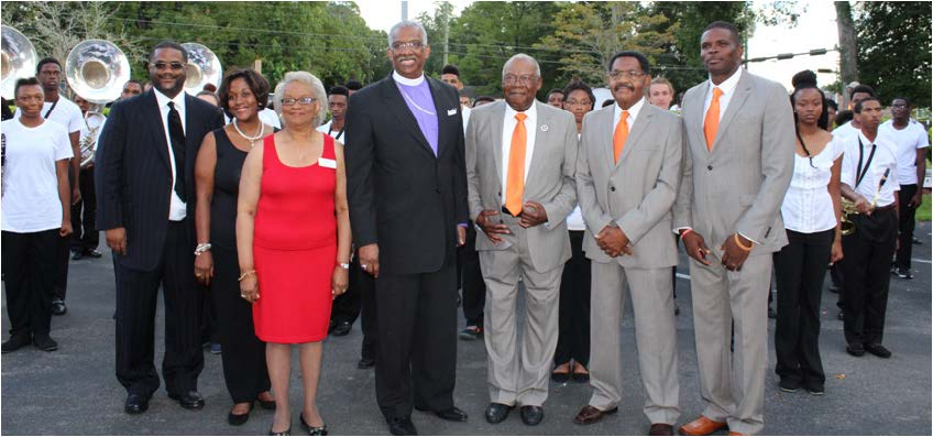 (L-R) Rev. Julius Harrison McAllister, Deana Young McAllister, Connie S. Richardson, Bishop Adam J. Richardson Jr., Sylvester Young, Shaylor James and Shelby Chipman. Photos by Bre-Shara McCall