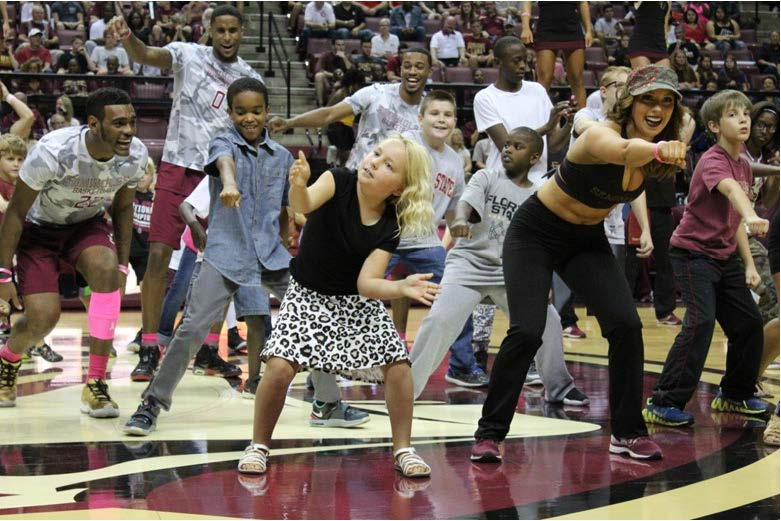FSU Golden Girls and Basketball players danced with young fans. Photos by Bre-Shara McCall