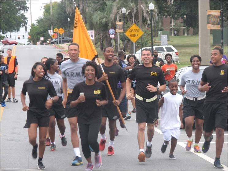 FAMU's ROTC Battalion lead the way in the suicide prevention and awareness local 1k run.