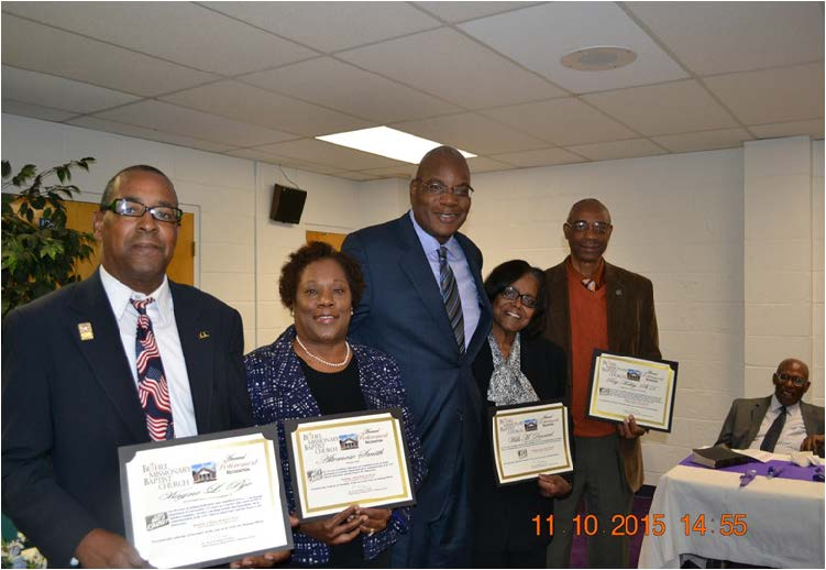Bethel's 2015 Retirees with Dr. R.B. Holmes: Wayne Pye, Altemese Smith, Willa Dennard, and Dr. Ray Mobley (Not Pictured:  Dr.  Michael Campbell)