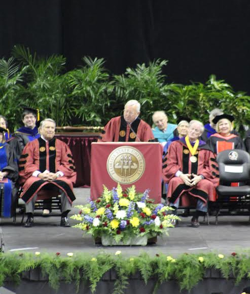 "Gene Deckerhoff, FSU Athletics Hall of Fame member, Florida Sports Hall of Fame member and ""Voice of the Seminoles,"" delivered FSU graduation speech on Dec. 12. Photo by Bre-Shara McCal"