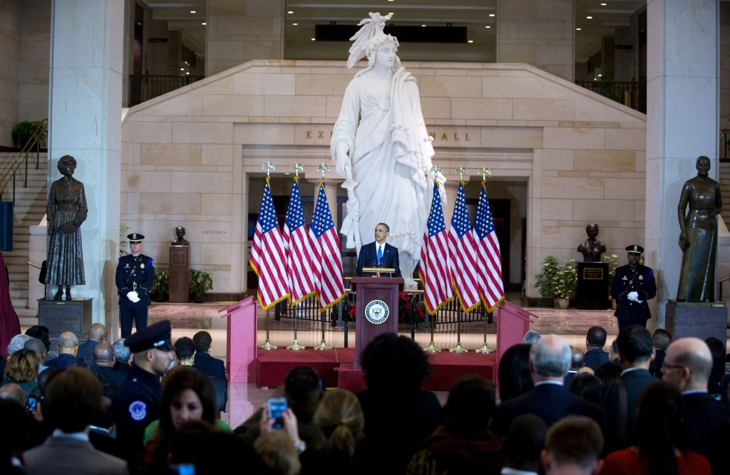 President Barack Obama delivers remarks at an event commemorating the 150th anniversary of the 13th Amendment abolishing slavery, at the U.S. Capitol in Washington, D.C., Dec. 9, 2015. (Lawrence Jackson/White House)