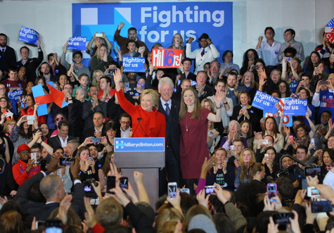 Hillary Clinton claims victory in Iowa Monday night. PHOTO: Clinton Twitter