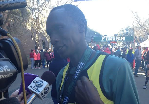 Kennedy Kemei won his first start in the Tallahassee Marathon, finishing in a time of 2 hours, 31 minutes and 31.9 seconds. Photo by St. Clair Murrain