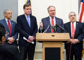 U.S. Rep. Bobby Scott, U.S. Sen. Mark Warner, U.S. Sen. Tim Kaine, and U.S. Rep. G.K. Butterfield, (not shown U.S. Rep. Don Beyer, and the NAACP's Hilary Shelton) at a press conference announcing a bill to recognize 400 years of Black contributions in America.  PHOTO: Courtesy/Office of Sen. Tim Kain
