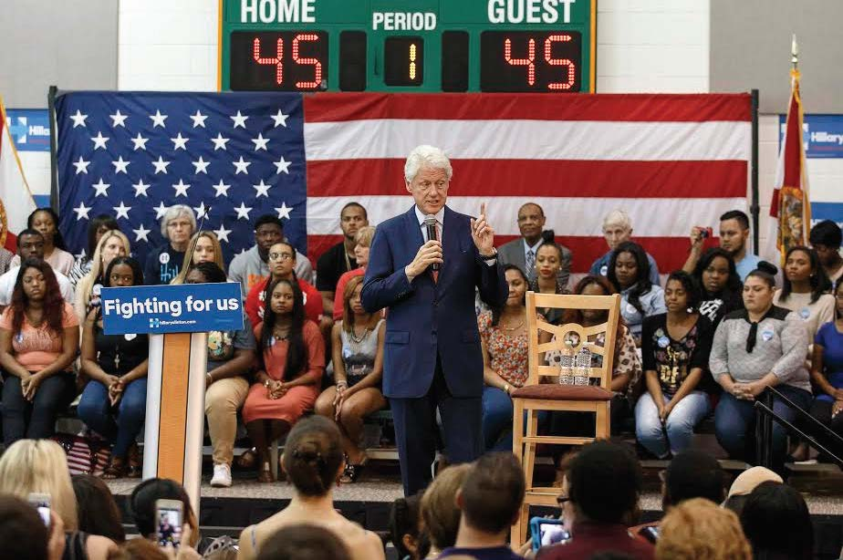 Former President Bill Clinton speaks at Florida A&M University as he campaigns for his wife, Democratic presidential candidate, Hillary Clinton at the Hansel E. Tooks, Sr. Student Recreation Center on the campus of FAMU in Tallahassee, Florida on March 14, 2016.  Photo by: Don Juan Moore/@DJuanfotos