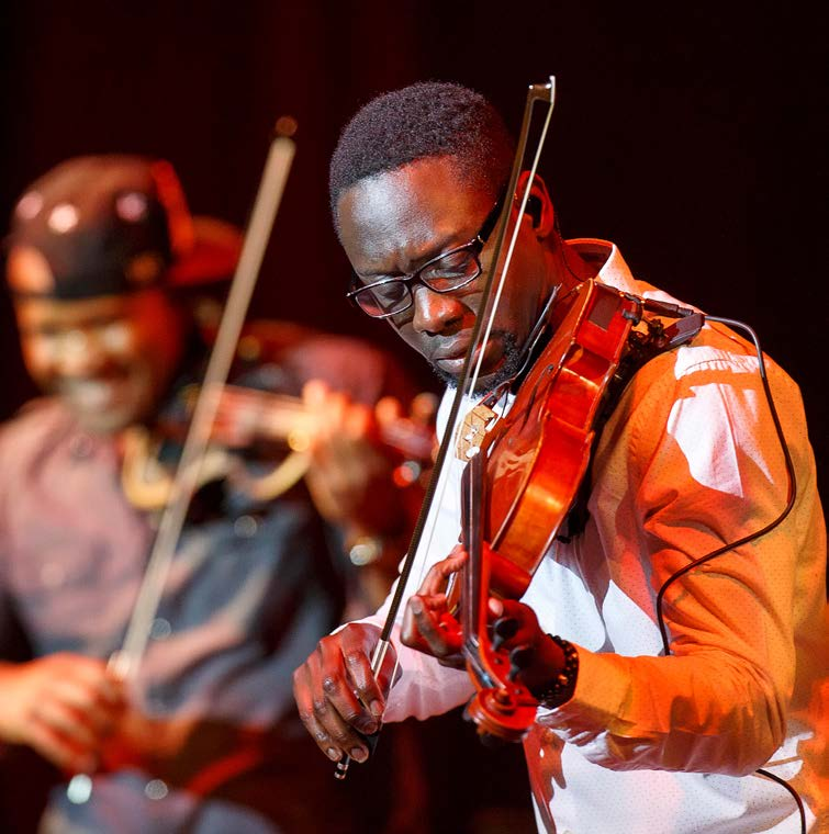 "Black Violin performed at Florida State's Opening Nights Sunday, March 6. Wil Baptiste, right, and Kevin ""Kev Marcus"" Sylvester on the left Photo by Don Juan Moore"