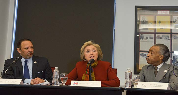 Former Secretary of State Hillary Clinton (center) met with Marc Morial, the president and CEO of the National Urban League (left), Rev. Al Sharpton of the National Action Network and other leaders from civil rights groups to discuss the needs of the Black community. (Freddie Allen/AMG/NNPA)