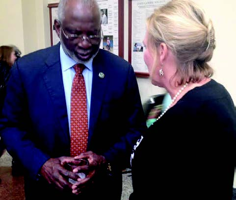 Davis Satcher, the 16th Surgeon General of the U.S, spent the last hour of his Tallahassee visit at a  reception.                          Photo by St. Clair Murraine