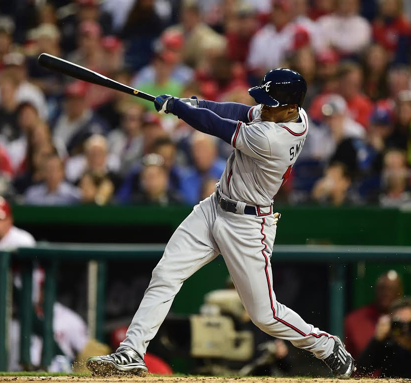 Tallahasee's Mallex Smith belts his first major league hit in the fourth inning of his debut in Washington a week ago.  Photo courtesy of Washington Nationals.