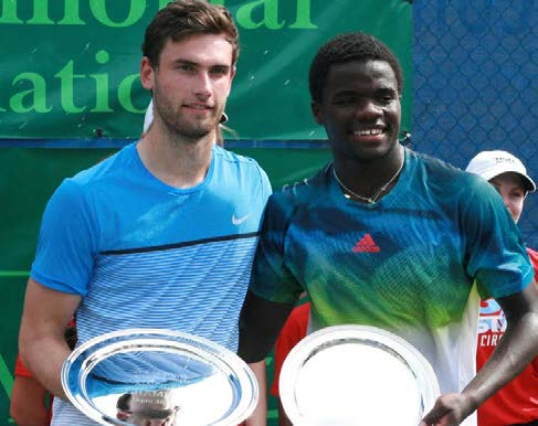 Quintin Halys, left, and Francis Tiafoe endured a two-hour match before Halys took a three-set victory for the Tallahassee Challenger title. Photo courtesy Tallahassee Challenger