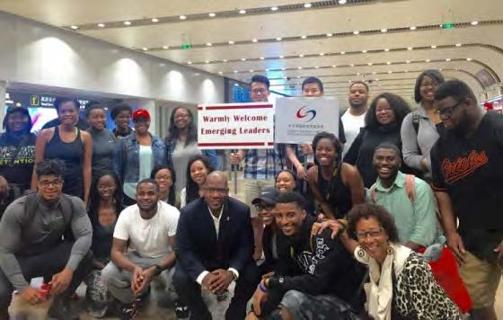 HBCU students arrive in China with Dr. David Wilson (center), president of Morgan State University, to begin study abroad cultural experience.  Courtesy photo by Trice Edney News Wire