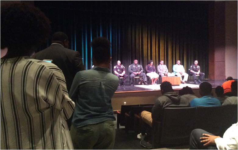 Members of a recent panel on racism take questions from the audience at Charles Winter Wood Theatre. Photo by Damon Arnol