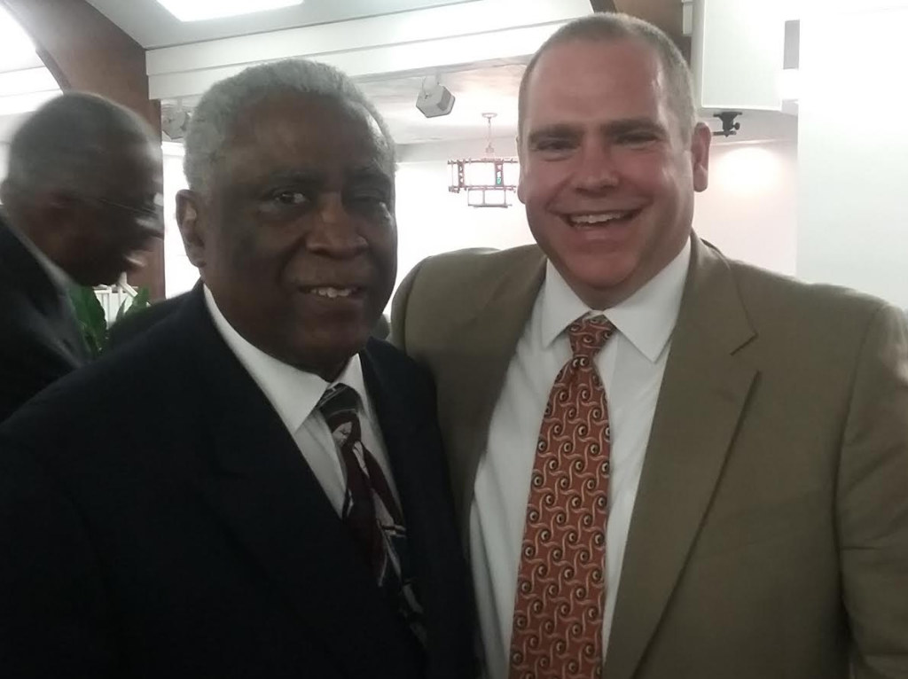 Jack Campbell, right, was on hand to support Pastor Ernest Ferrell at a recent Urban League fund-raiser. Photo by St. Clair Murraine