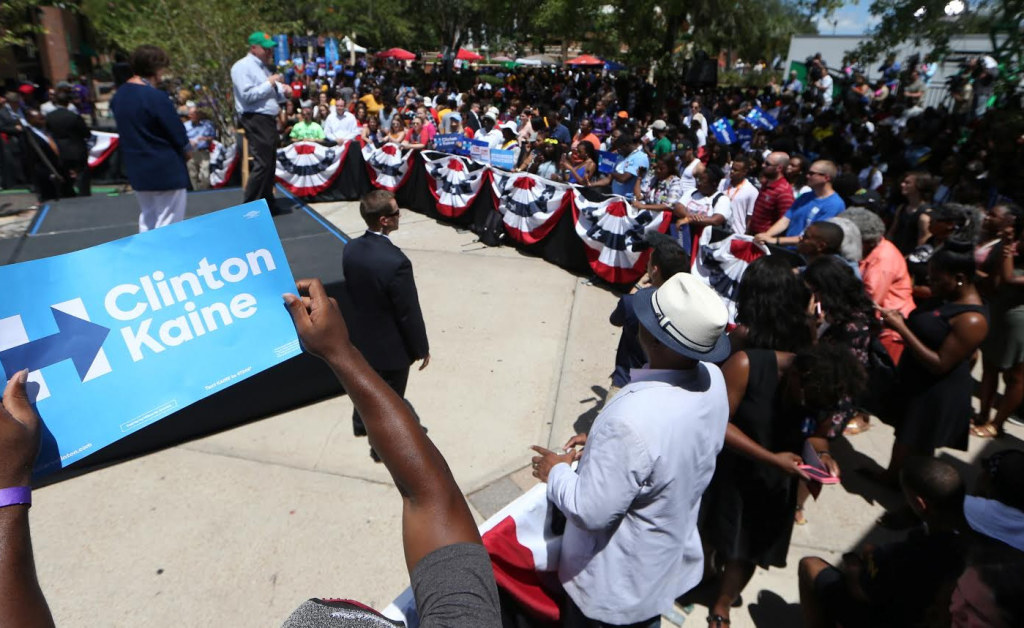 Tim Kaine told FAMU students he and Hillary Clinton will push for funding of HBCUs. Photo courtesy Tallahassee Democrat/ Joe Rondon