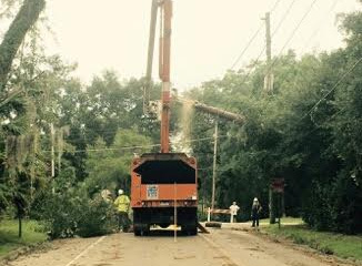 Electric crews worked 16-hour shifts to restore power.