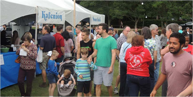 Festival goers  interacted  with  each other while they got their food and drinks.