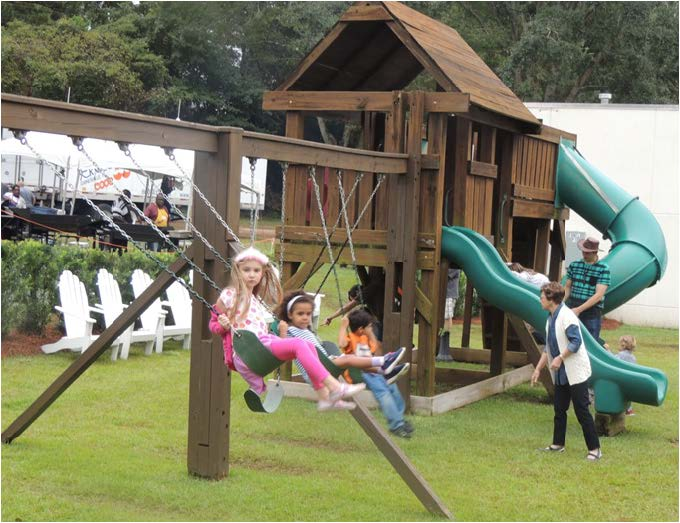 Parents and children enjoyed their time on the playground.