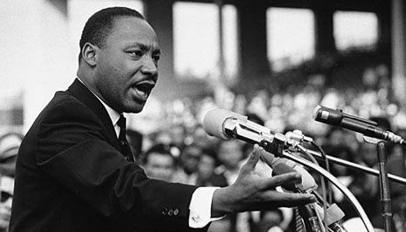 """Martin Luther King Jr., addresses a crowd from the steps of the Lincoln Memorial where he delivered his famous, """"I Have a Dream,"""" speech during the August 28, 1963 March on Washington for Jobs and Freedom in Washington, D.C.  Photo courtesy of NNPA/Wikimedia Commons"""