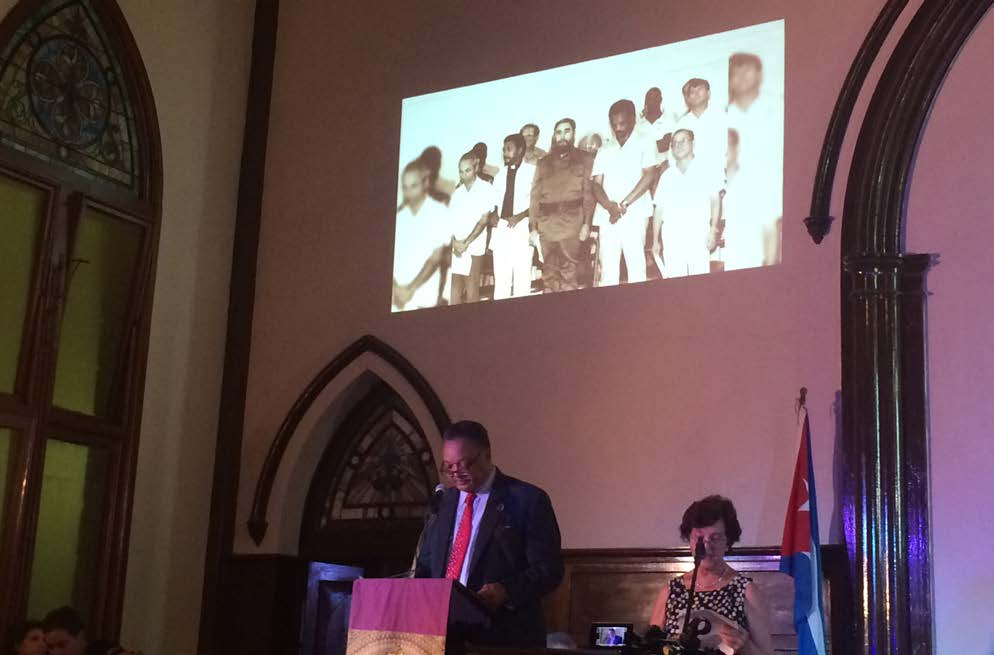 Reverend Jesse Jackson, Sr., speaks during a memorial service for Fidel Castro in Havana, Cuba.  Photo by Don Terry/NNPA