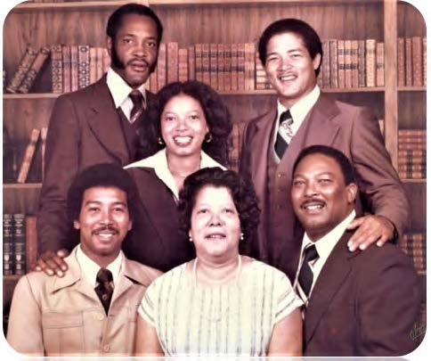 Pinky Gilliam Hall and husband Al; Melvin; seated: Ervin Omega Jr., Adell (wife) and Founder Ervin Omega Sr.