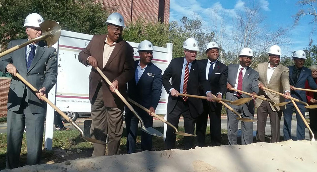 Officials from FSU joined supporters who helped secure funding as they break ground for construction of a new Black Student Union building. Photo by St. Clair Murraine