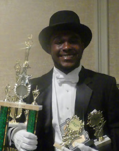 Beau of the Year Julius McAllister III posed with his awards received at the seventh annual Links Incorporated Beautillion.
