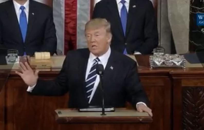 President Donald J. Trump pictured above speaking at his first address before a joint session of Congress last Tuesday. Photo courtesy of Trice Edney News Wire