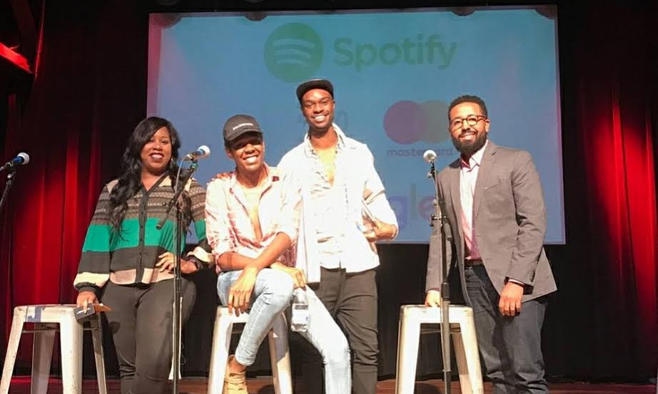 Spotify company shares smiles as they finish addressing the college students at the HBCU Black business expo tour. Photos special to the Outlook