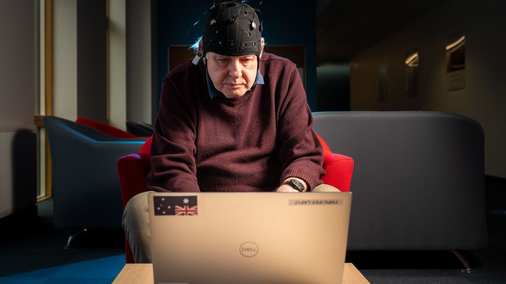 A volunteer, fitted with the Fastball EEG cap, takes part in the passive test developed at the University of Bath, which could diagnose Alzheimer's disease earlier than current methods. (University of Bath)